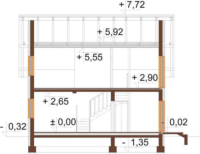 Projekt domu L-6704 - przekrój