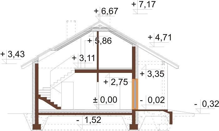 Projekt domu L-6693 - przekrój