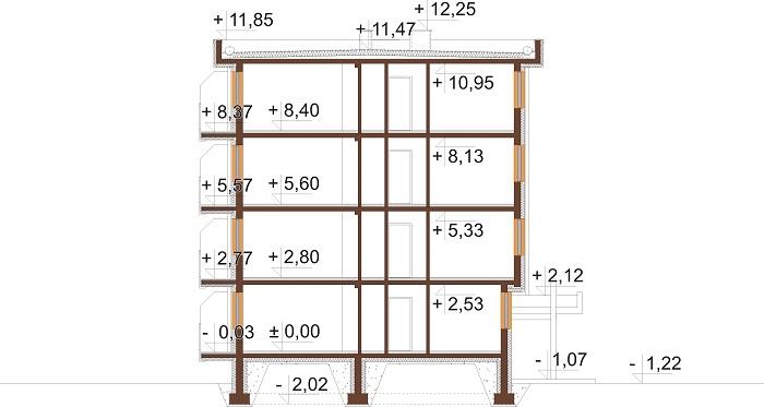 Projekt domu L-6590C - przekrój