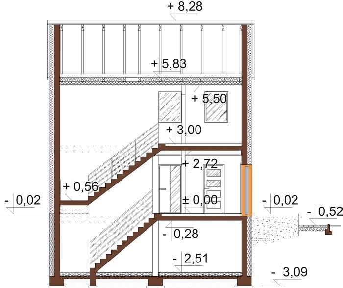 Projekt domu DM-6652 - przekrój