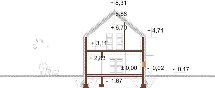 Projekt domu DM-6719 - przekrój