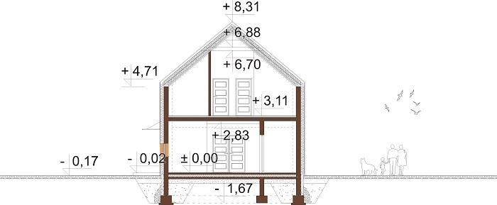 Projekt domu L-6719 - przekrój