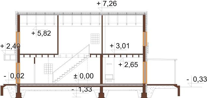 Projekt domu DM-6715 - przekrój