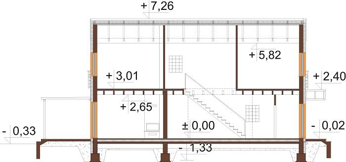 Projekt domu L-6715 - przekrój