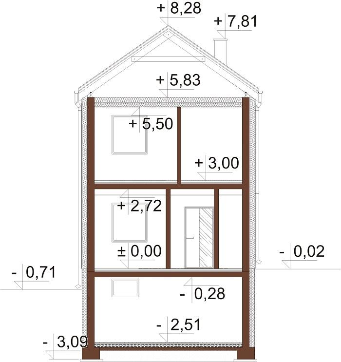 Projekt domu L-6652 - przekrój