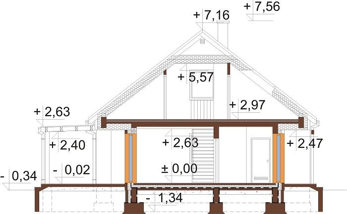 Projekt domu L-6706 - przekrój