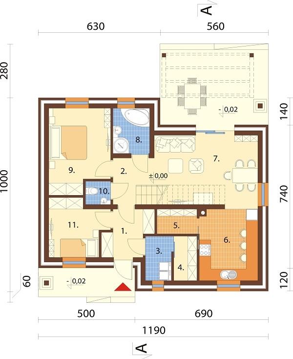 Projekt domu L-6706 - rzut