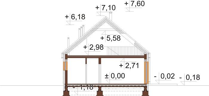 Projekt domu DM-6705 - przekrój