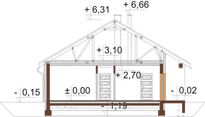 Projekt domu DM-6718 - przekrój