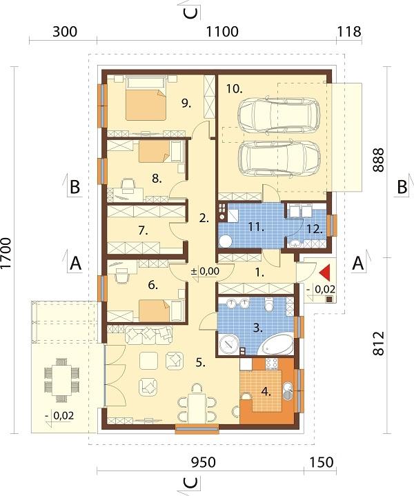Projekt domu DM-6718 - rzut