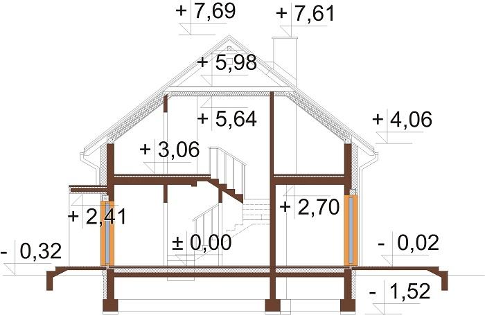 Projekt domu DM-6713 - przekrój