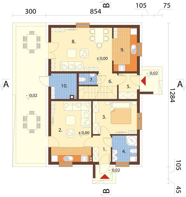 Projekt domu DM-6713 - rzut