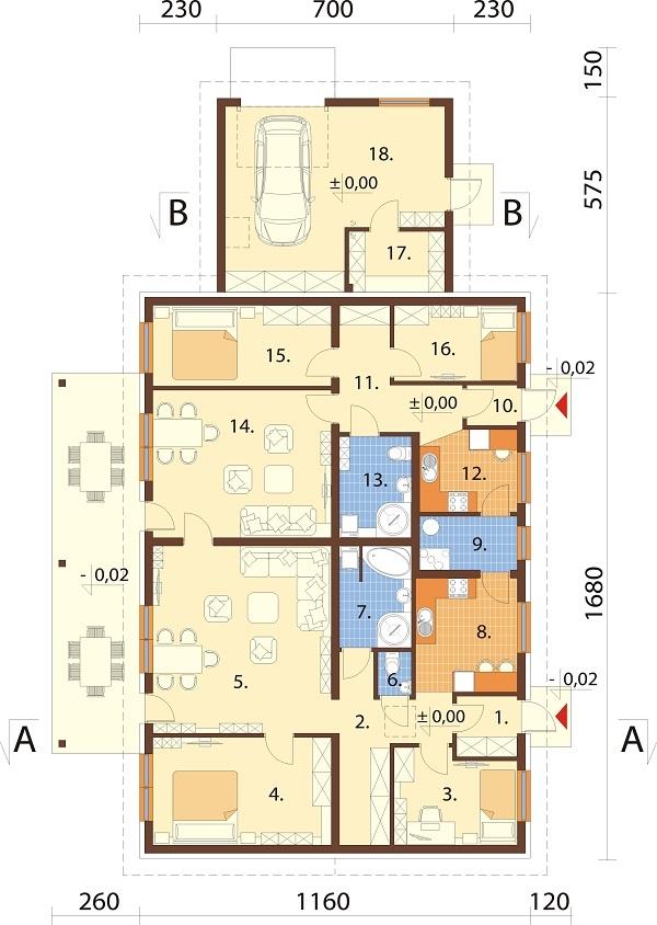 Projekt domu DM-6730 - rzut