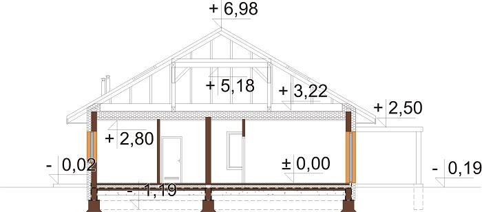 Projekt domu L-6726 - przekrój