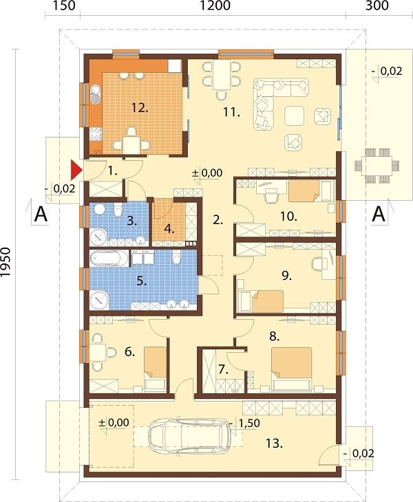 Projekt domu L-6726 - rzut