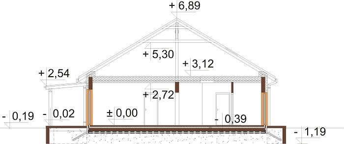 Projekt domu L-6730 - przekrój