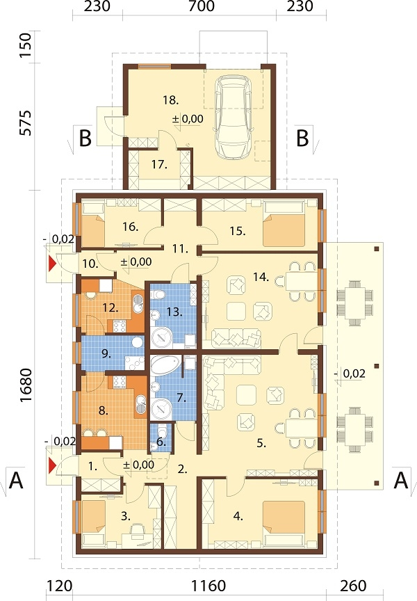 Projekt domu L-6730 - rzut