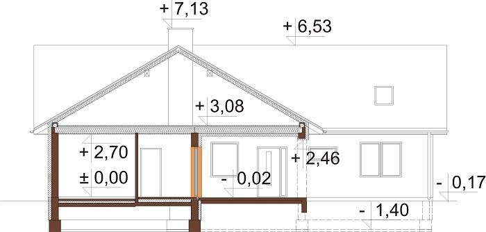 Projekt domu DM-6712 - przekrój