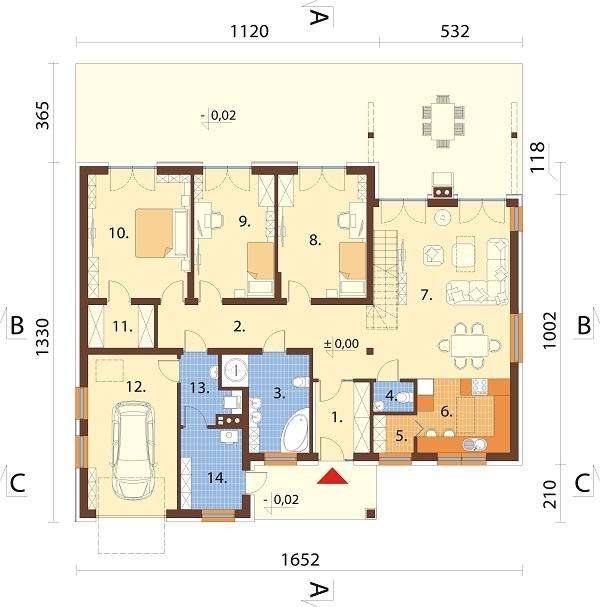 Projekt domu DM-6712 - rzut