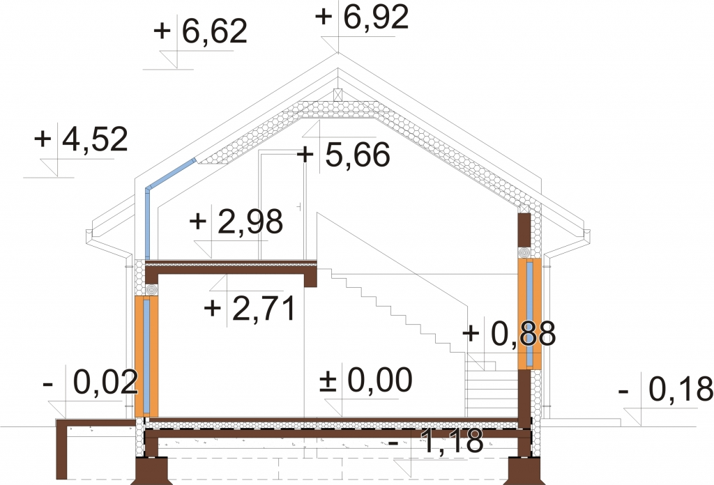 Projekt domu L-6731 - przekrój