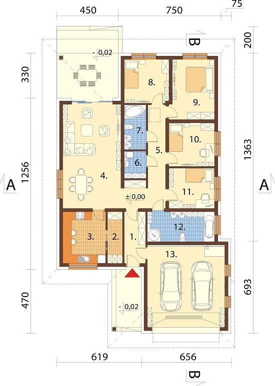 Projekt domu DM-6604 B - rzut