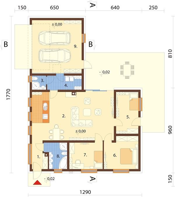 Projekt domu DM-6732 - rzut