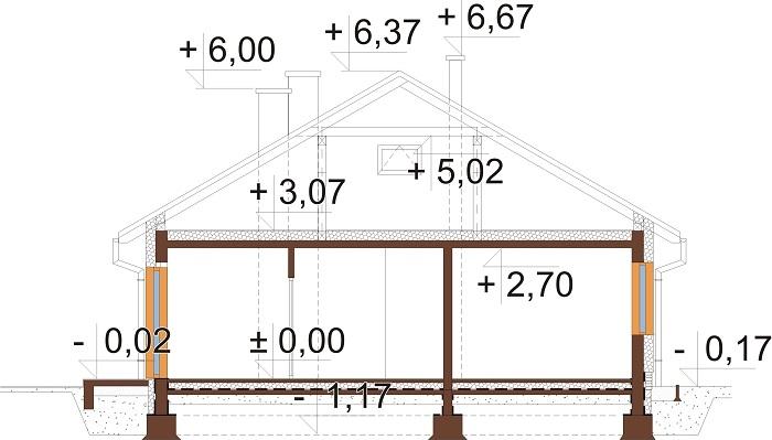Projekt domu DM-6733 - przekrój