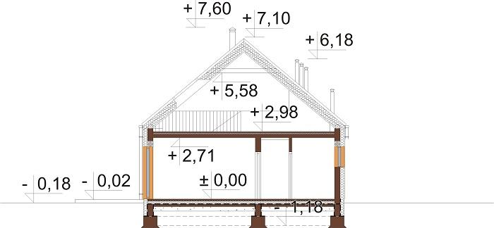 Projekt domu L-6705 - przekrój
