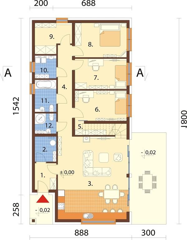 Projekt domu L-6705 - rzut