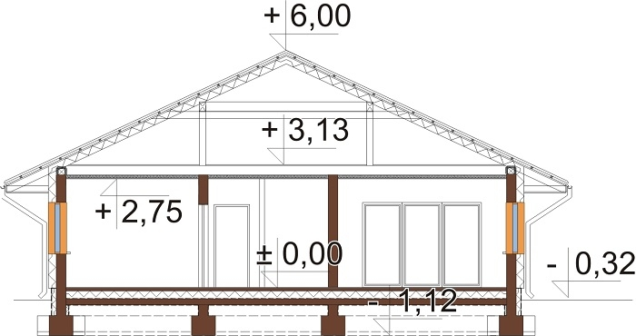 Projekt domu L-6604 B - przekrój