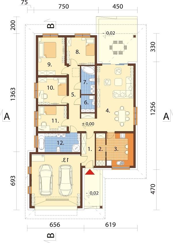 Projekt domu L-6604 B - rzut