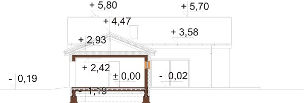 Projekt domu L-6732 - przekrój
