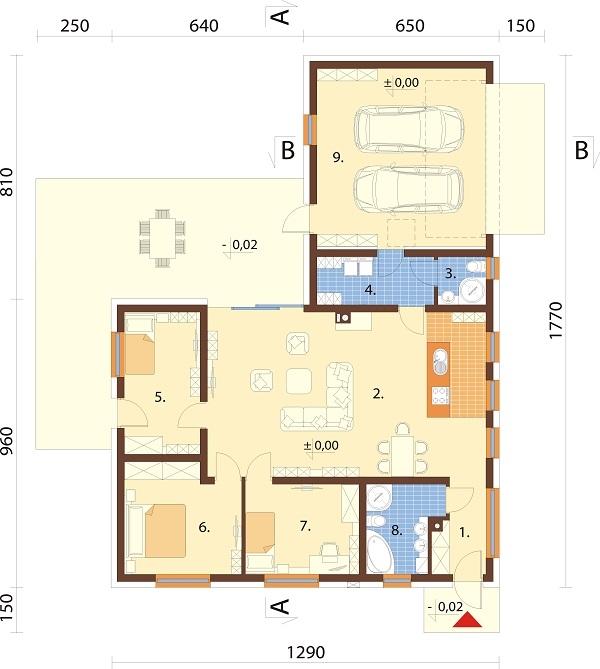 Projekt domu L-6732 - rzut