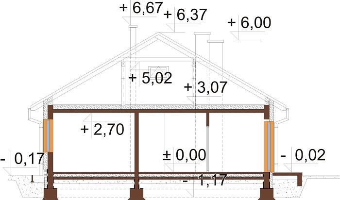 Projekt domu L-6733 - przekrój