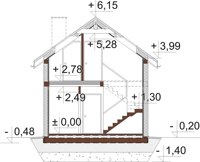 Projekt domu DM-6736 - przekrój