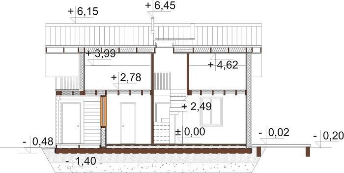 Projekt domu L-6736 - przekrój