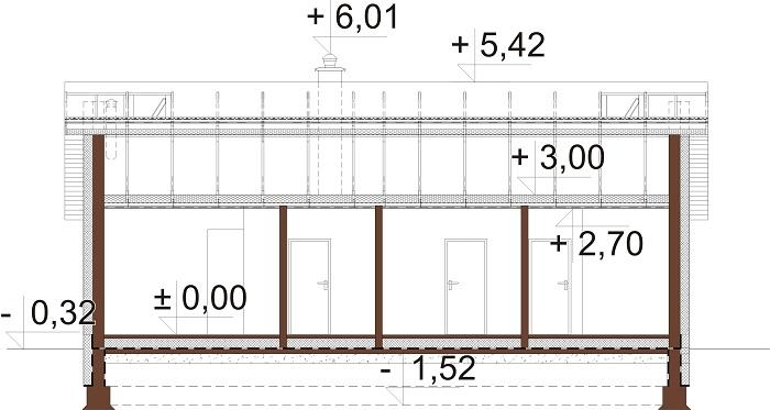 Projekt domu DM-6616 B - przekrój
