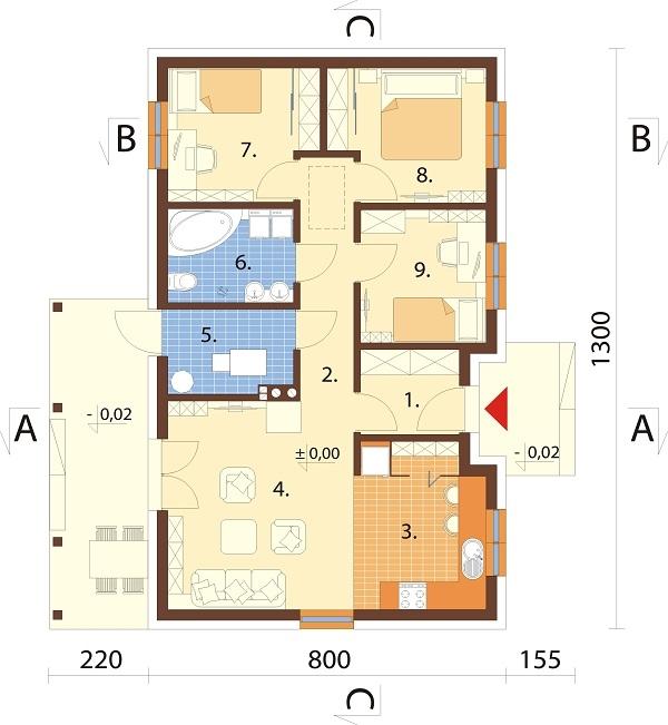 Projekt domu DM-6616 B - rzut