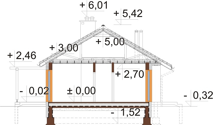 Projekt domu L-6616 B - przekrój