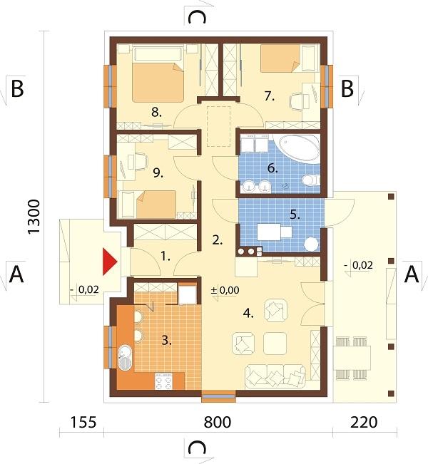 Projekt domu L-6616 B - rzut
