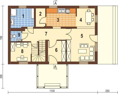 Projekt domu DM-5570 - rzut