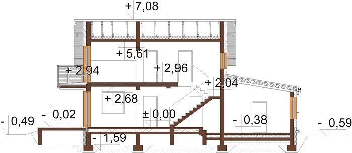 Projekt domu DM-6716 - przekrój