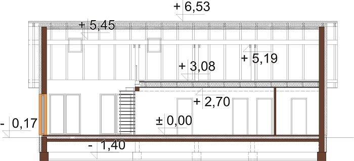 Projekt domu L-6712 - przekrój