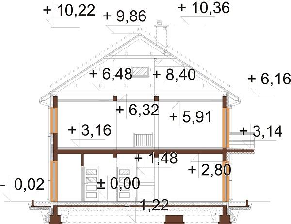 Projekt domu DM-6727 - przekrój