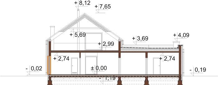 Projekt domu L-6709 - przekrój