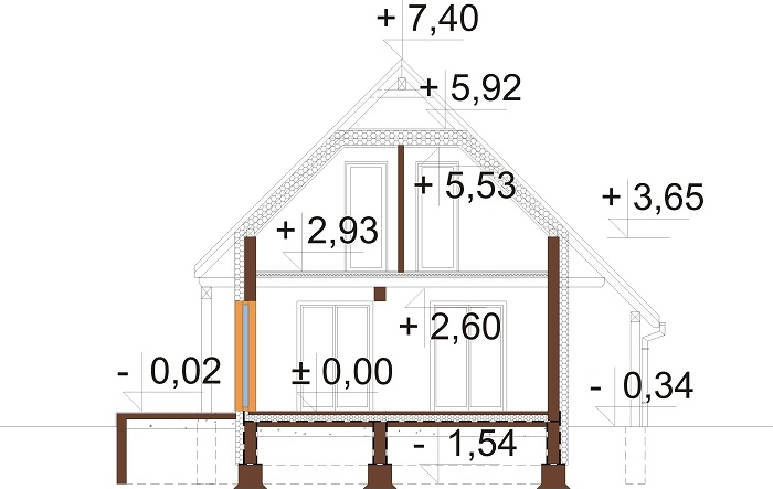 Projekt domu DM-6700 - przekrój