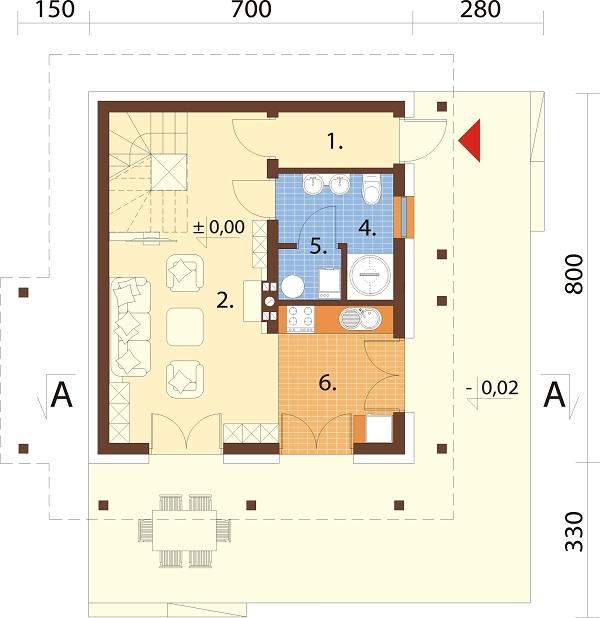 Projekt domu DM-6700 - rzut