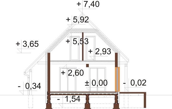 Projekt domu L-6700 - przekrój