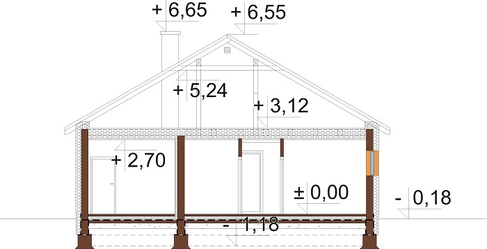 Projekt domu DM-6708 - przekrój