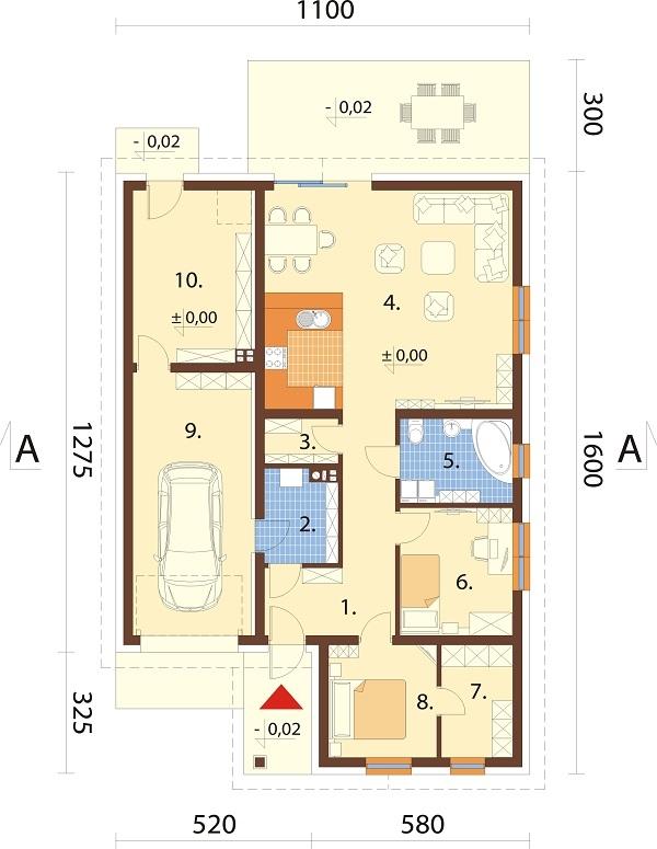 Projekt domu DM-6708 - rzut